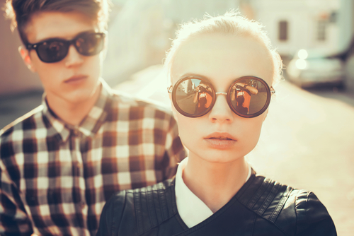hip young couple in sunglasses