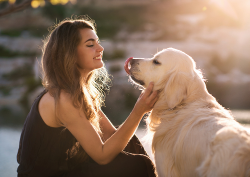 young woman petting dog