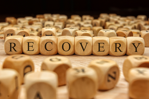 recovery spelled out in wooden blocks