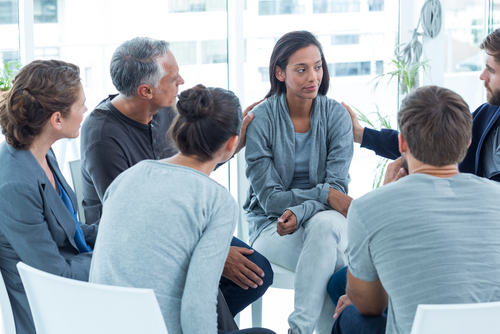 group therapy meeting or support group