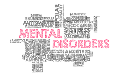mental disorders spelled out in red