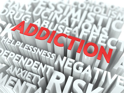 addiction word in red