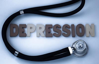 depression word with stethescope