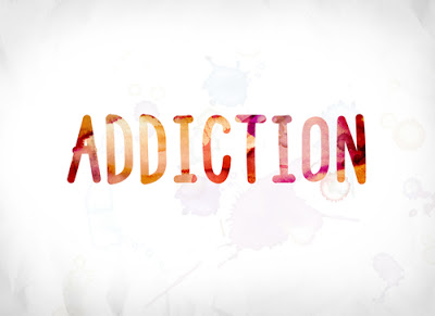 Addiction - words on white background