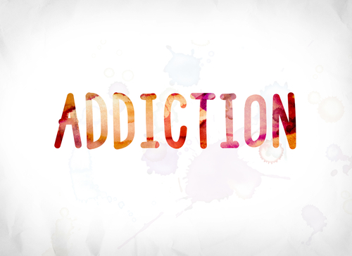 addiction word spelled out