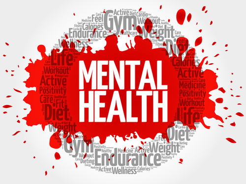 mental health word spelled out with red