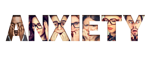 anxiety word spelled out with images of people