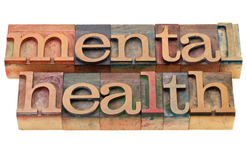 mental health spelled with wooden blocks