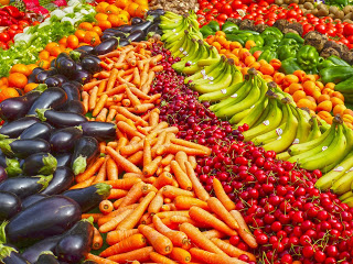rows of fruits and vegetables