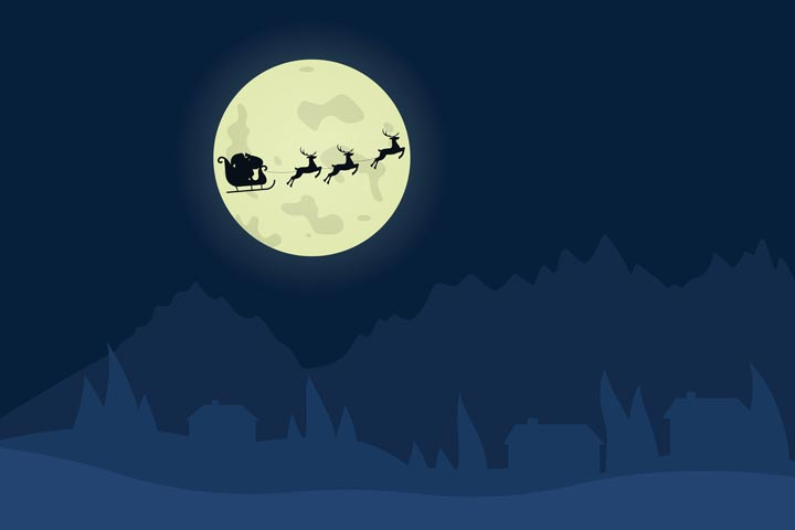 illustration of dark sky and Santa Claus and reindeer flying across a full moon - holidays and recovery