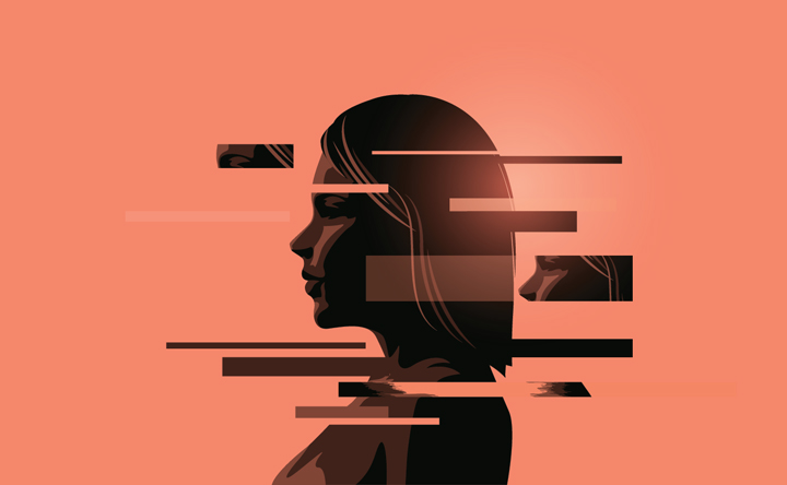 illustration of woman with fragmented mind or thoughts - inpatient