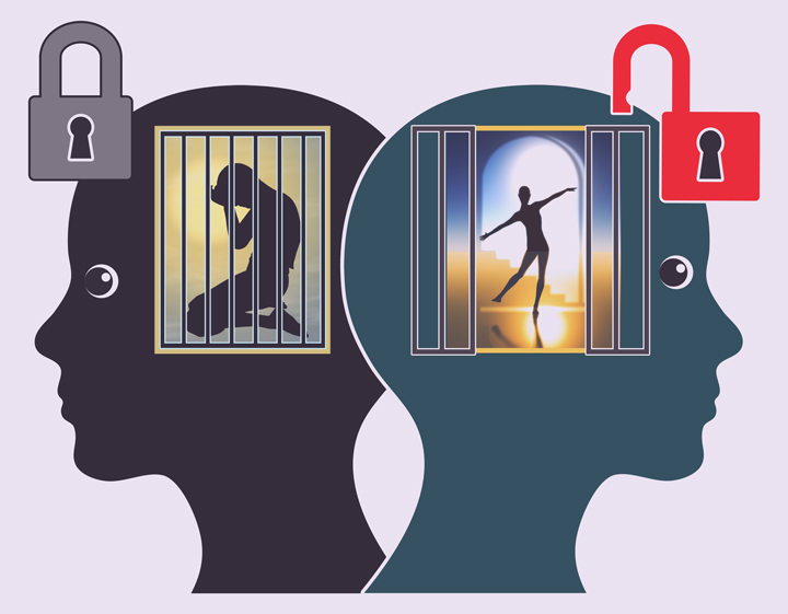 illustration - two heads with cages - one open and the other locked - somatic experiencing