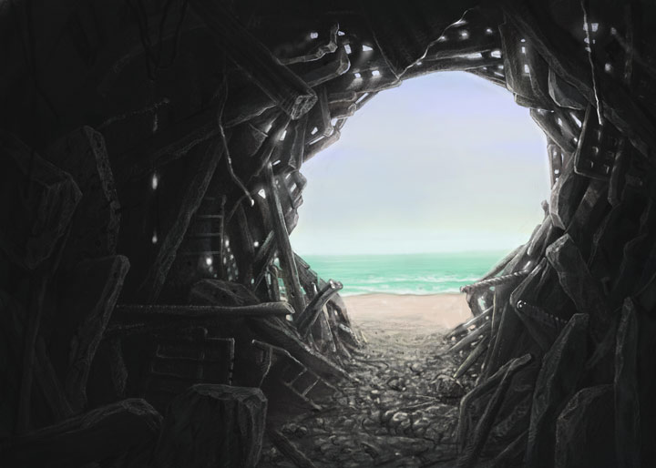 illustration of dark cave looking out of entrance shaped as human head, onto a beach - EMDR therapy