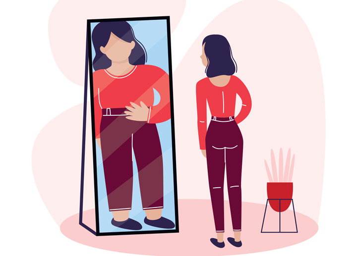 illustration of woman looking into full length mirror, seeing herself larger than she is - eating disorder treatment