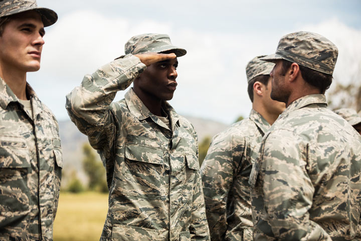 military training - man saluting his superior - veterans